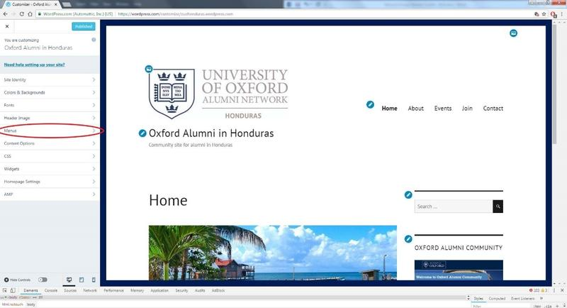 A screenshot of a WordPress site, with the buttons to customise the site's menu highlighted