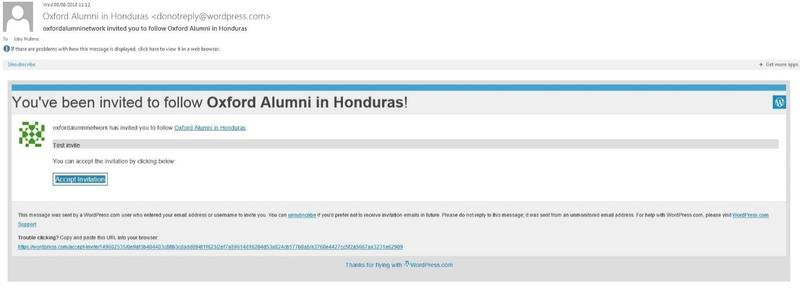 A screenshot of the message received by those who are invited to join a WordPress site