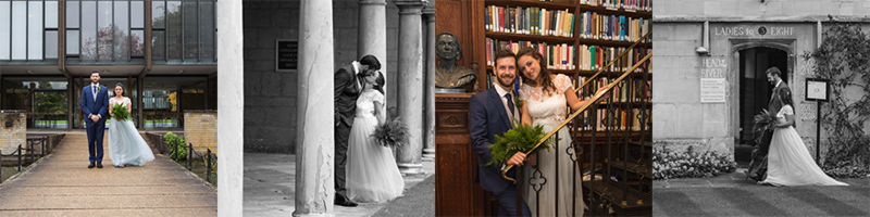A montage of four photos from the wedding of Alex Woods and Zoe de Toledo, with the bride and groom stood in different colleges
