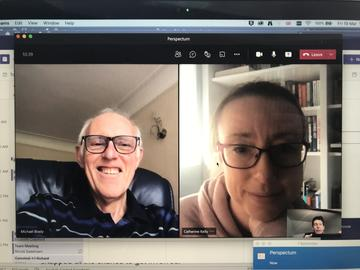 Screen grab of Dr Cat Kelly and Professor Sir Mike Brady interviewed in April 2021