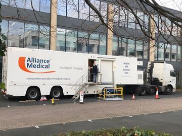 MRI Scanning interior and Perspectum scanning lorry