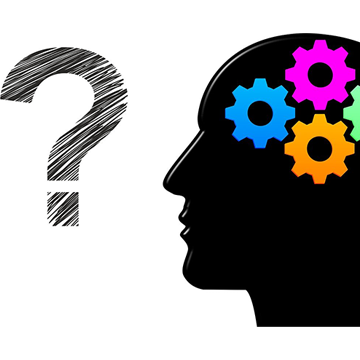 Image of a question mark and a person's head