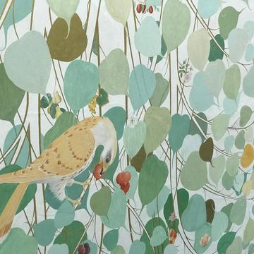 Waterperry Gardens fresco bird and leaves